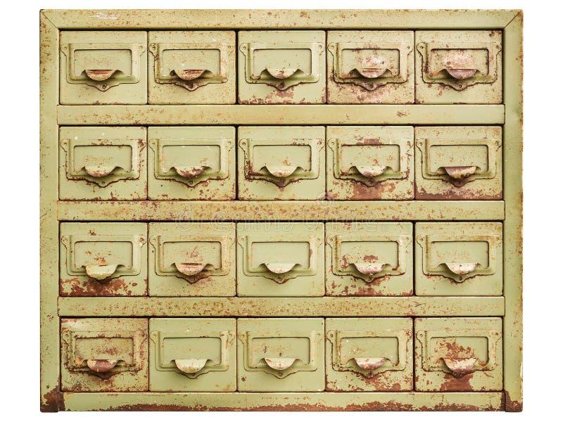Rocznika gabinet z metalu segregowania kreślarzami odizolowywającymi na bielu obrazy stock