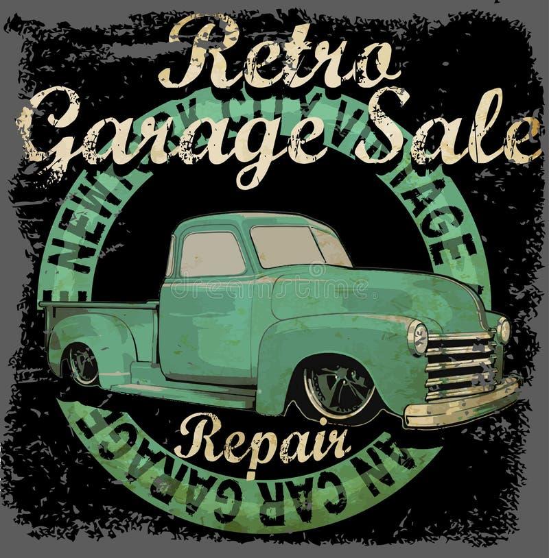 Rocznika garażu retro sztandar ilustracja wektor