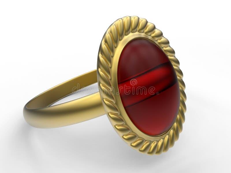 Rocznika garnet pierścionek ilustracja wektor