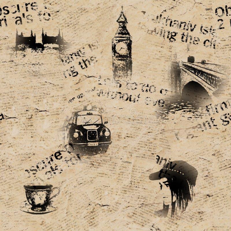 Rocznika gazetowy Londyński tło ilustracja wektor
