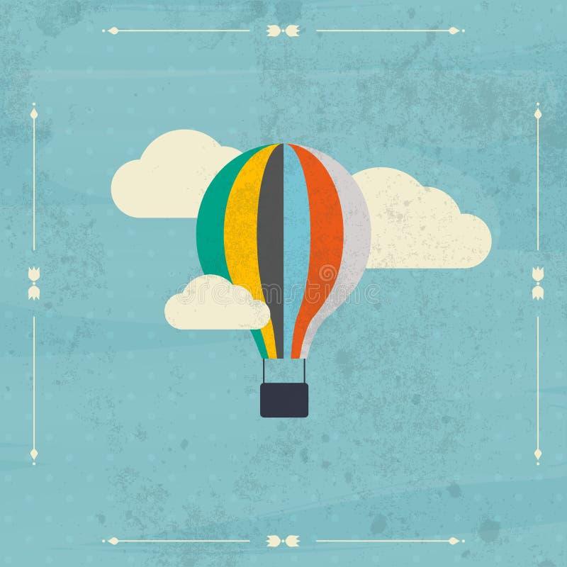Rocznika gorącego powietrza balon w niebo wektorze ilustracja Backgro royalty ilustracja