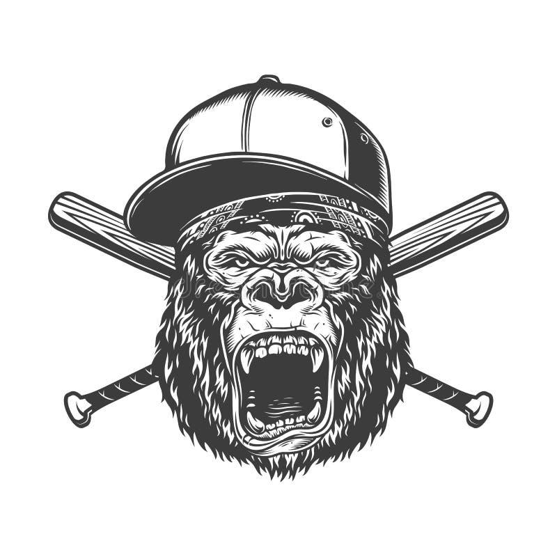 Rocznika goryla monochromatyczna okrutnie głowa ilustracja wektor