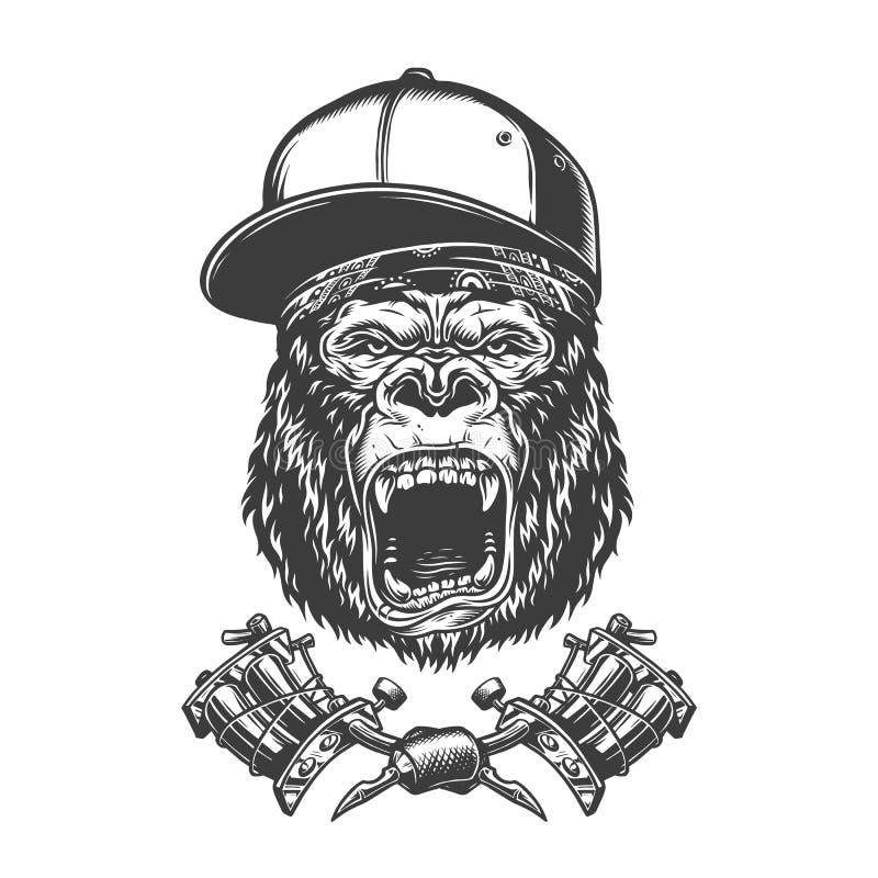 Rocznika goryla okrutnie głowa ilustracja wektor