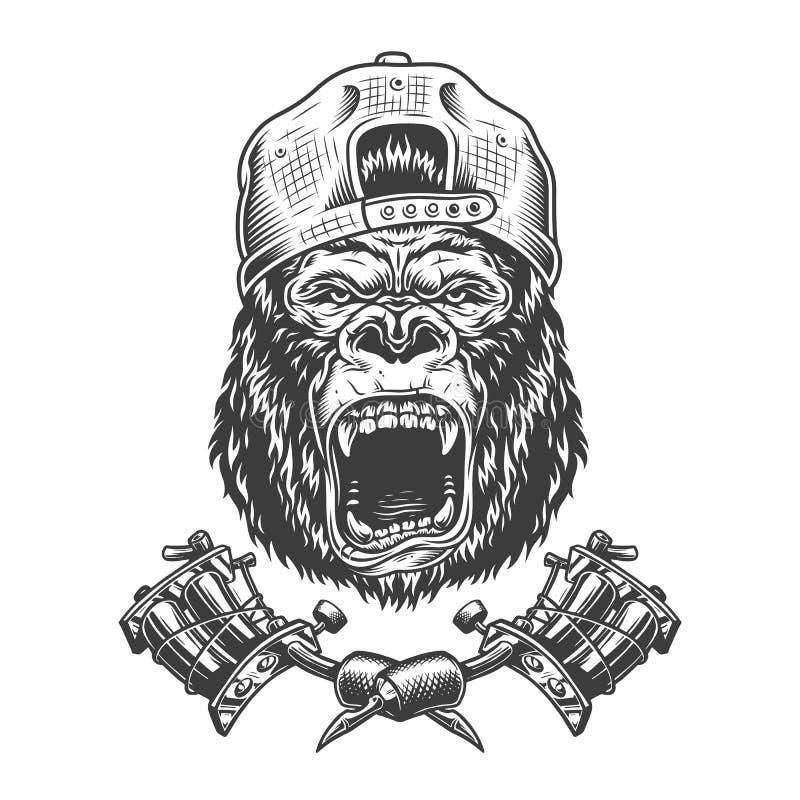 Rocznika goryla okrutnie głowa w nakrętce royalty ilustracja