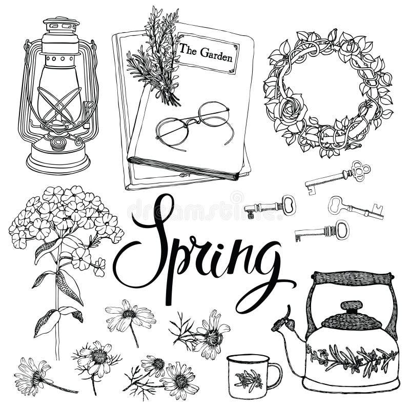 Rocznika gospodarstwo domowe protestuje i kwiaty, wiosna temat. Ręki drawin ilustracji