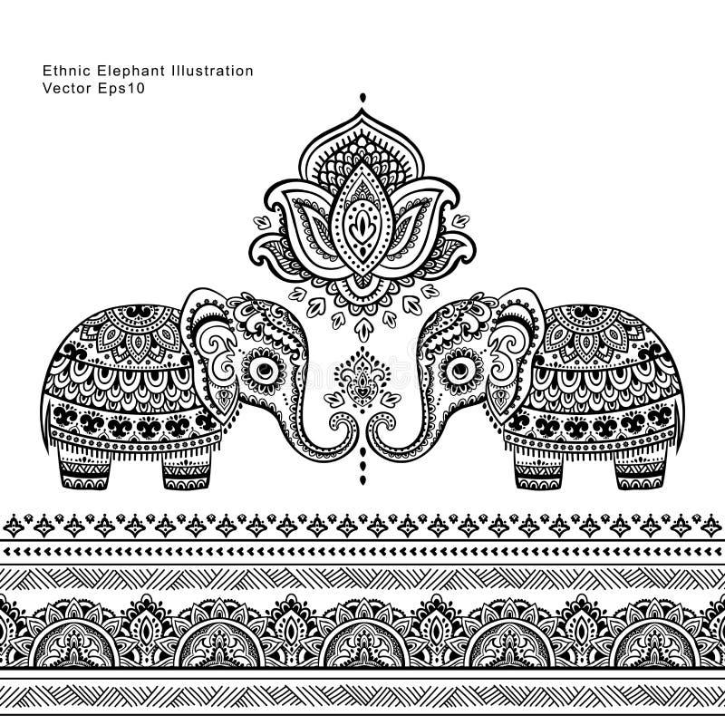 Rocznika graficzny wektorowy Indiański lotosowy etniczny słoń bezszwowy royalty ilustracja