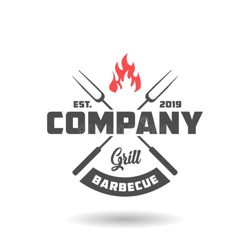 Rocznika grilla logo projekt royalty ilustracja