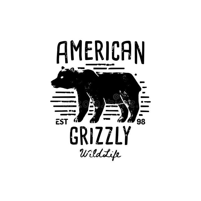 Rocznika grizzly nied?wiedzia logo r?ki remis Wektorowy symbol Dziki Ameryka sylwetka nied?wied? ilustracja wektor