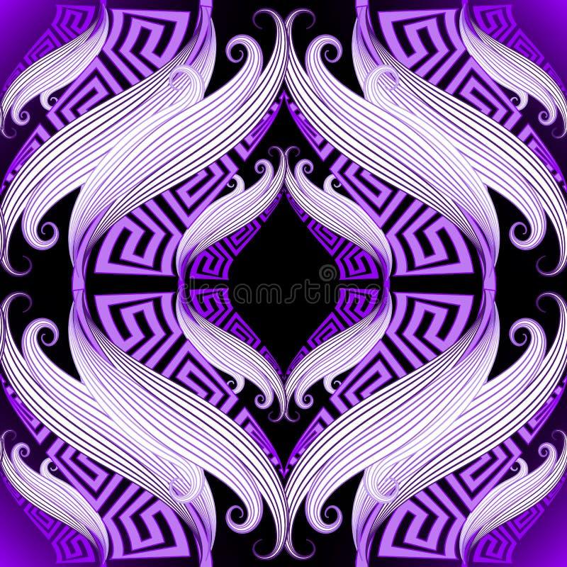 Rocznika grka klucza pięknych meanderów bezszwowy wzór Wektorowy ornamentacyjny geometryczny t?o Ręka rysujący abstrakcjonistyczn ilustracji