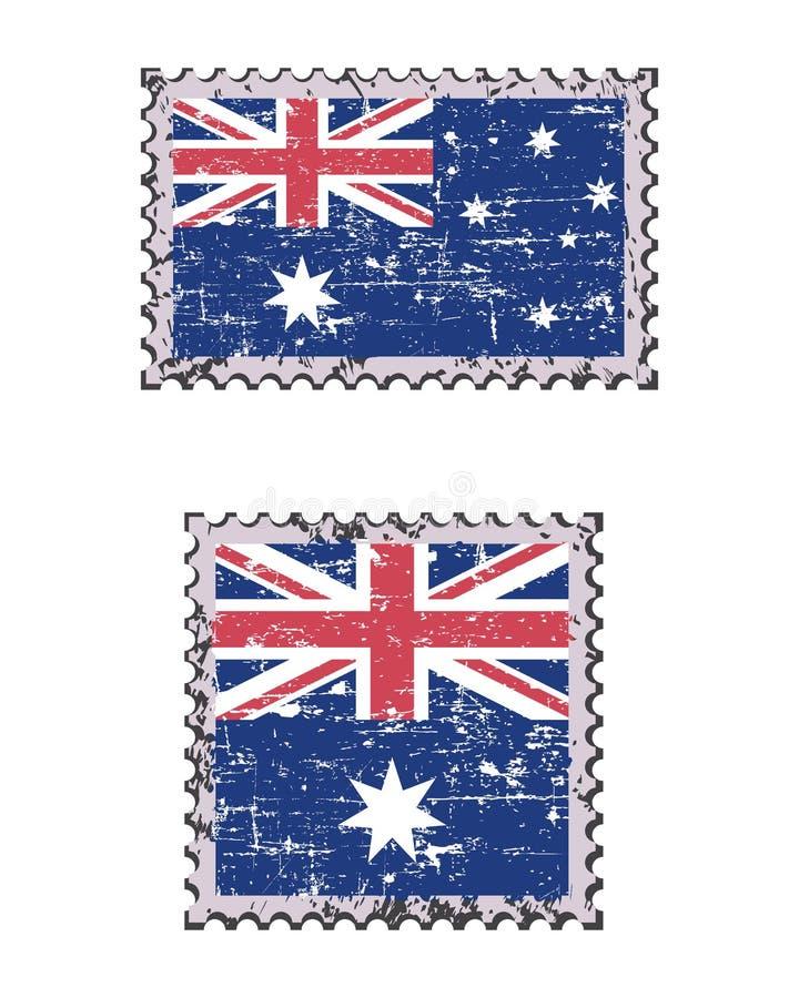 Rocznika grunge flagi znaczka pocztowego Australijski set, odizolowywający na białym tle, wektorowa ilustracja ilustracji
