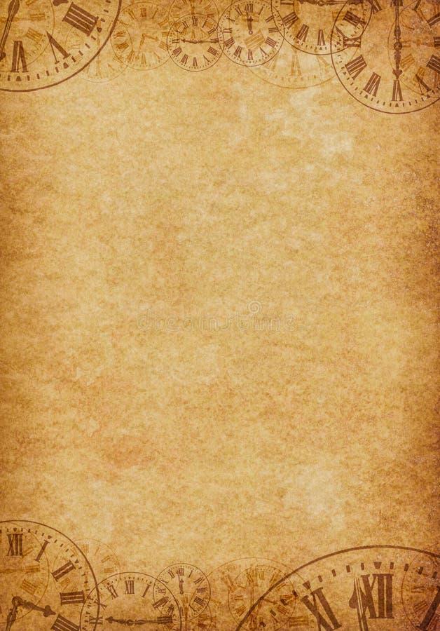 Rocznika Grunge Pergaminowego tła Zegarowe twarze ilustracja wektor