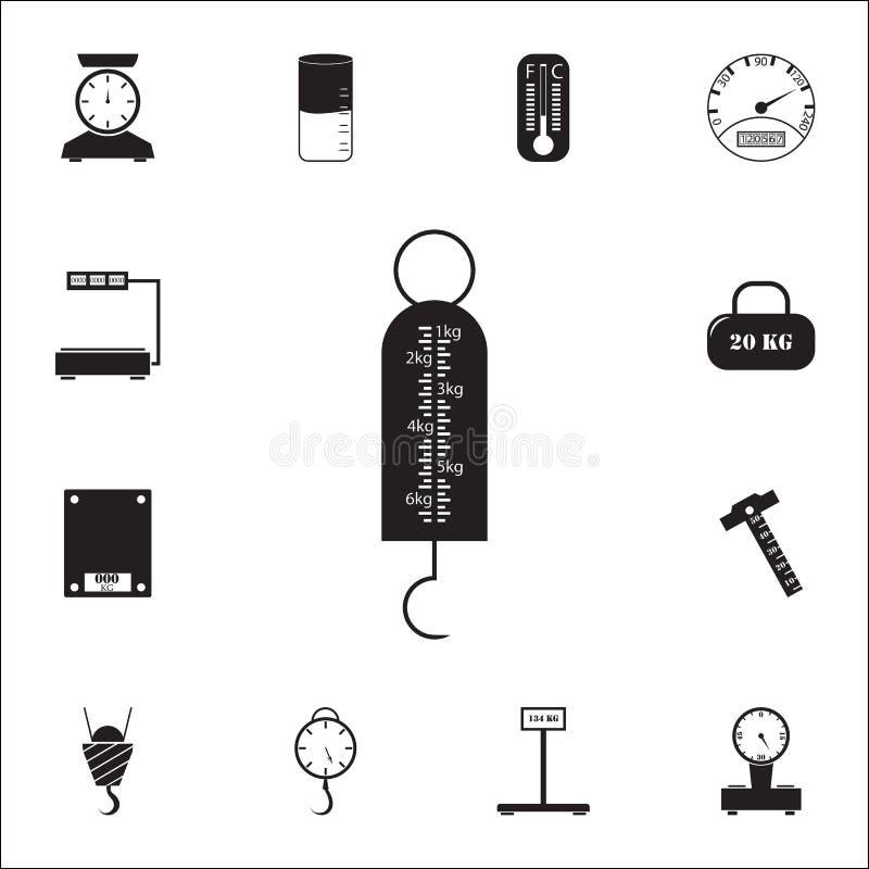 rocznika haczyka scalesicon pomiarowych elementów ikon ogólnoludzki ustawiający dla sieci i wiszącej ozdoby ilustracja wektor