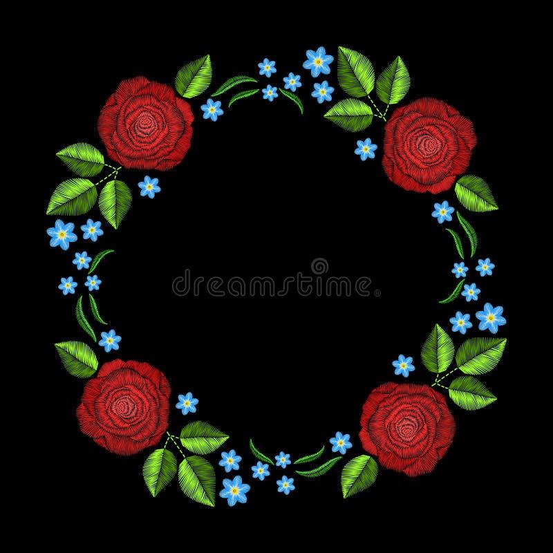 Rocznika hafciarski wianek z różami dla wystroju Wektorowa moda o royalty ilustracja