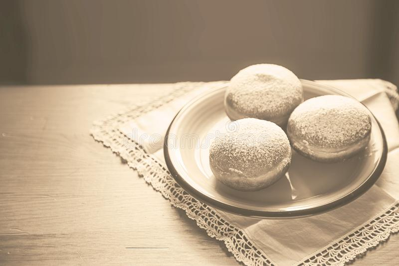 Rocznika Hanukkah świętowania pojęcia stylowi donuts na c fotografia royalty free