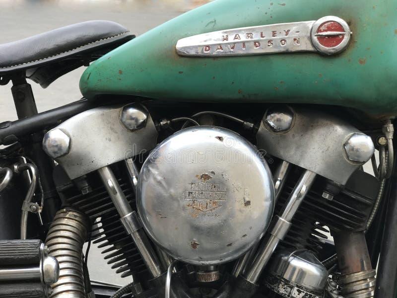 Rocznika Harley Davidson motocyklu logo i Parowozowy zbliżenie obrazy stock