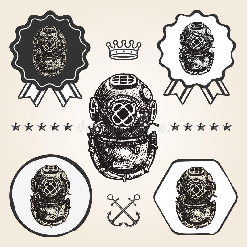 Rocznika hełma nurkowej ikony sieci znaka symbolu loga płaska etykietka royalty ilustracja