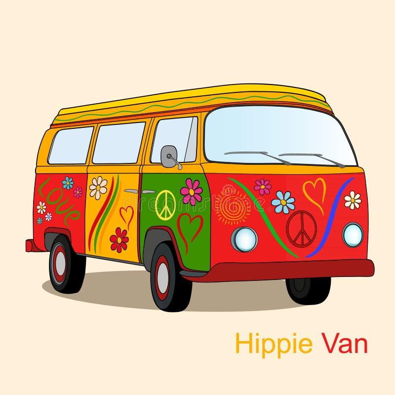 Rocznika hipisa samochód dostawczy ilustracja wektor
