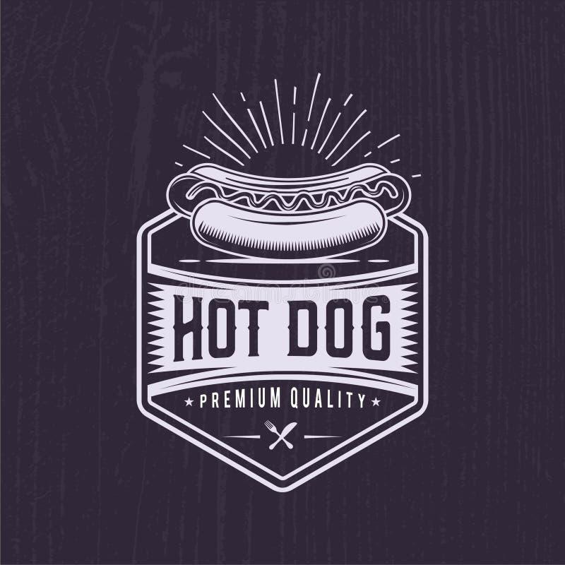 Rocznika hot dog logo Fast Food ilustracja ilustracji