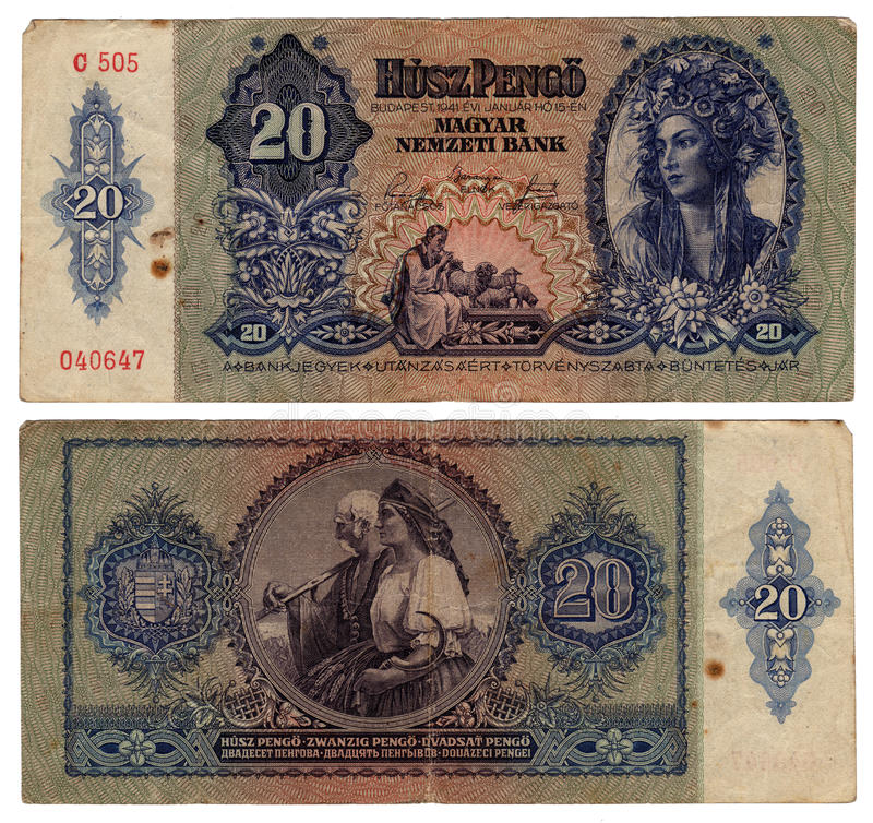 Rocznika Hungarian Banknot Od 1941 Obrazy Stock