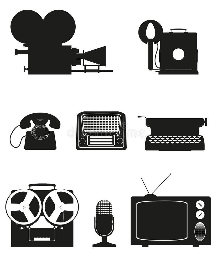 Rocznika i starej sztuki wyposażenia sylwetki fotografii telefonu wideo recor ilustracji