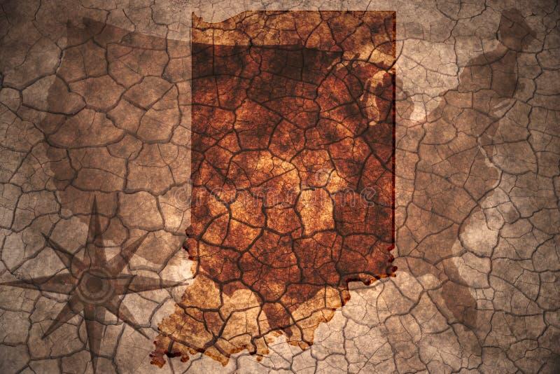 rocznika Indiana stanu mapa obrazy stock
