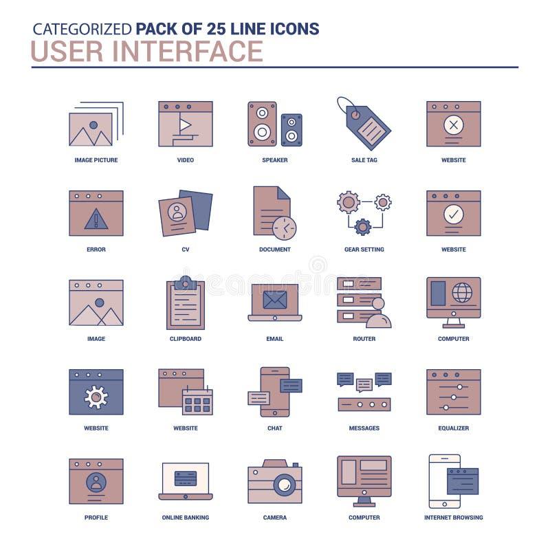 Rocznika interfejs użytkownika ikona ustawia - 25 mieszkań ikony Kreskowego set ilustracja wektor
