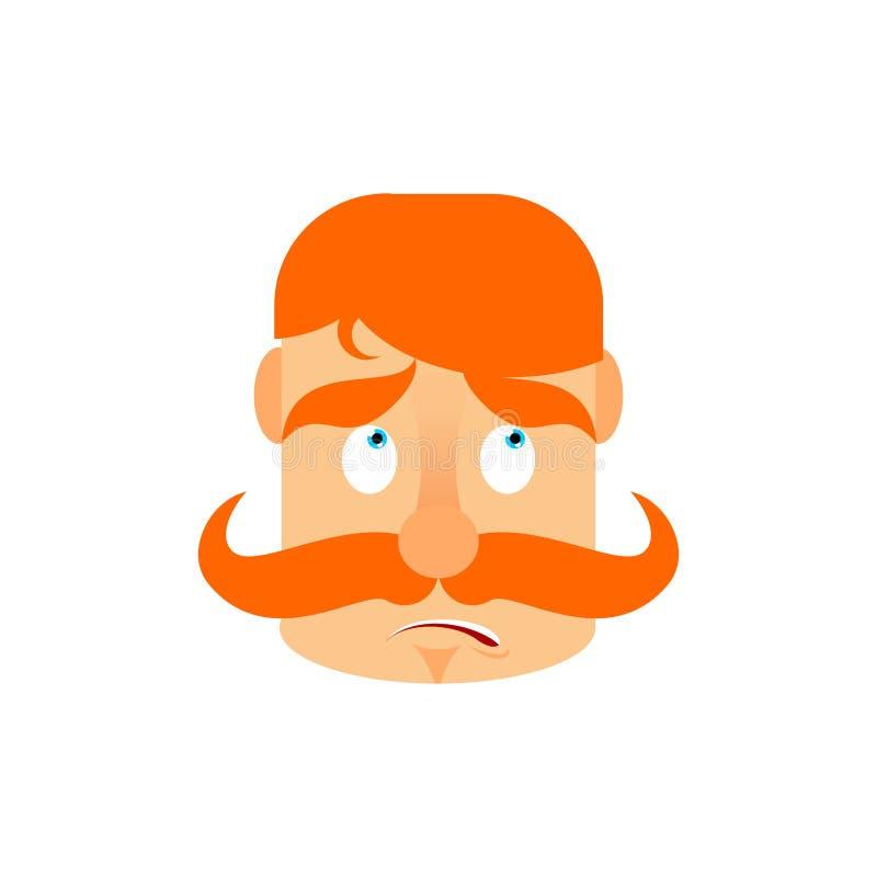 Rocznika irlandczyk z czerwoną wąsy niespodzianką Emoji Retro mężczyzna fac royalty ilustracja