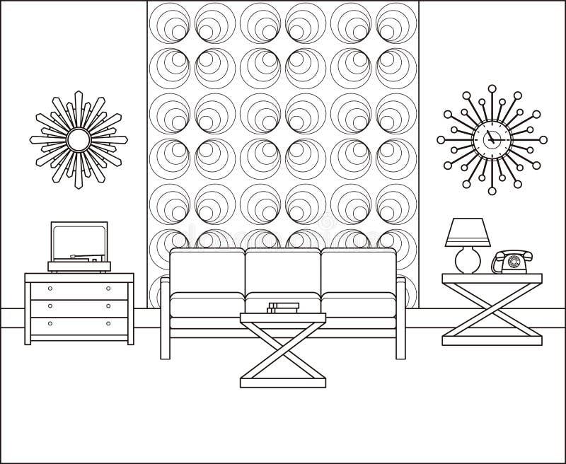 Rocznika izbowy wnętrze w kreskowej sztuce Liniowa wektorowa ilustracja royalty ilustracja