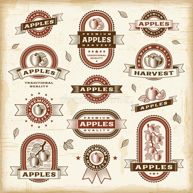 Rocznika jabłka etykietki ustawiać ilustracja wektor