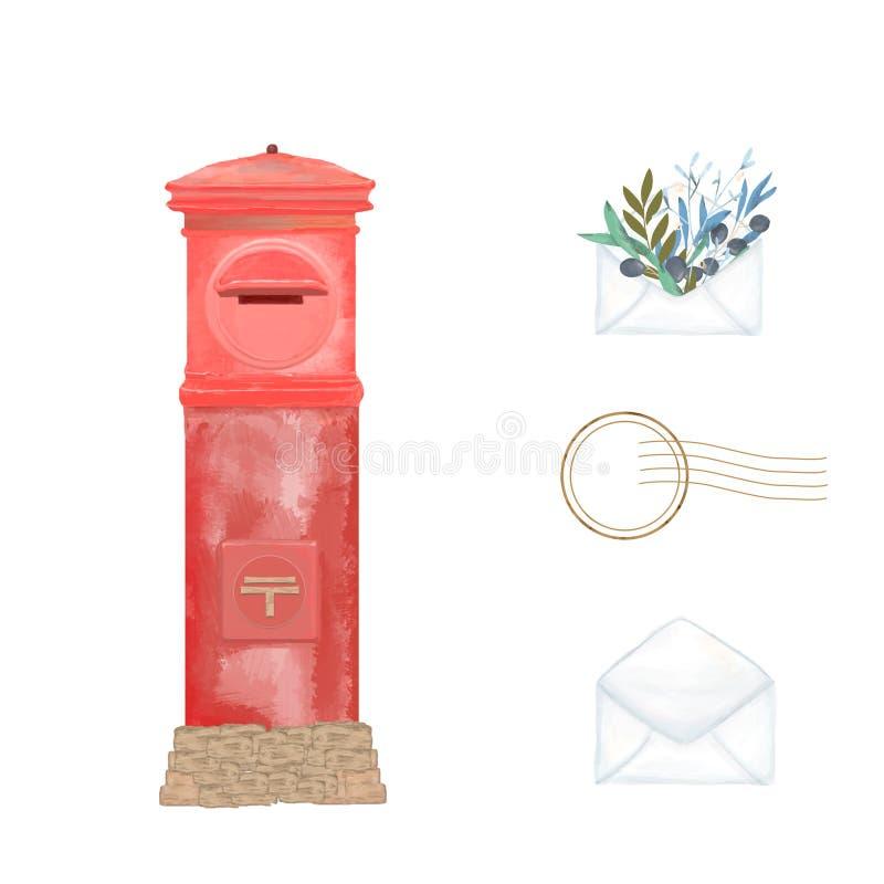 Rocznika Japan skrzynka pocztowa dla listu Retro stylowa akwareli muśnięcia ilustracja Tokio czerwonego koloru poczty klamerki sz ilustracji