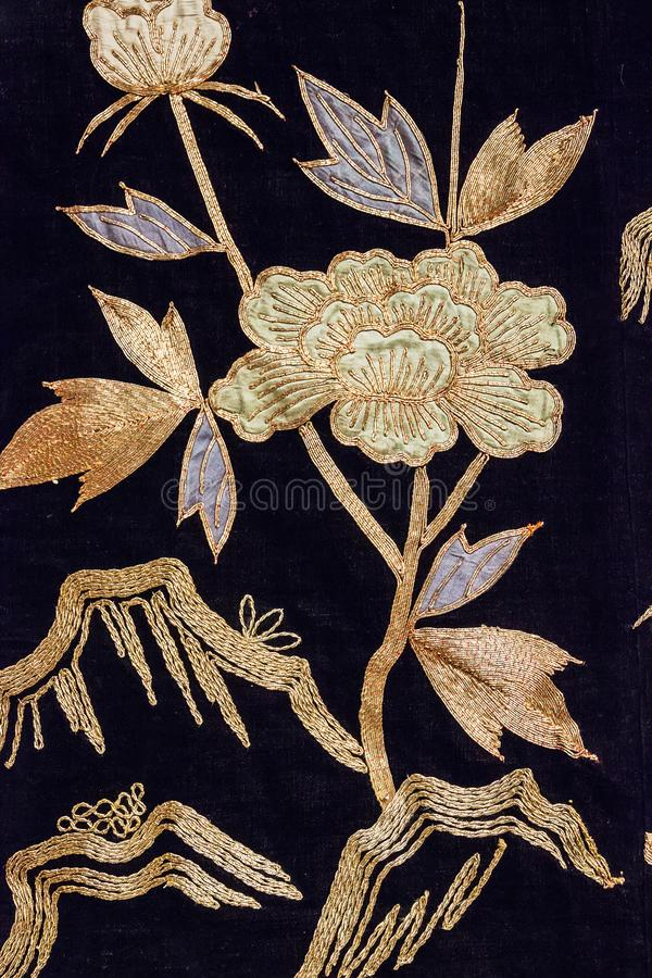 Rocznika Japonia tradycyjny japoński jedwabniczy kimonowy wzór na decorach obraz royalty free