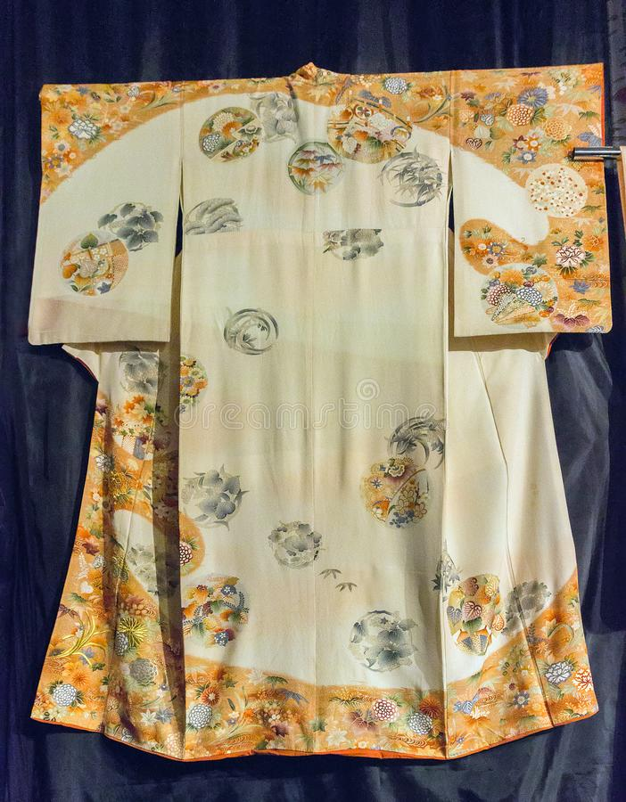 Rocznika Japonia tradycyjny japoński jedwabniczy kimonowy wzór na decorach fotografia stock