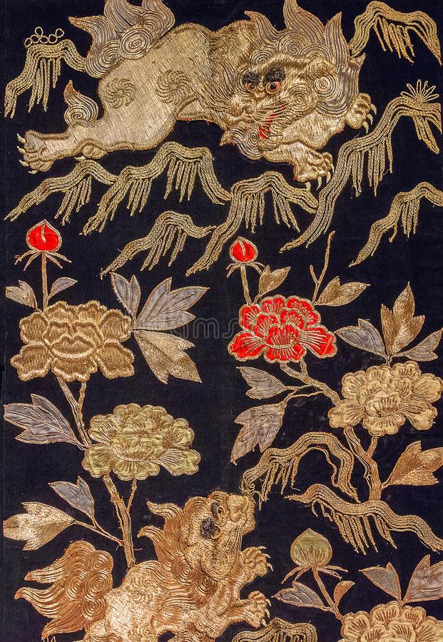 Rocznika Japonia tradycyjny japoński jedwabniczy kimonowy wzór na decorach zdjęcie royalty free