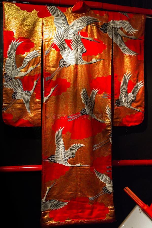 Rocznika Japonia tradycyjny japoński jedwabniczy kimonowy wzór na decorach obraz stock