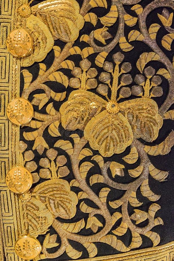 Rocznika Japonia złota tradycyjny japoński jedwabniczy kimonowy wzór na d zdjęcia royalty free