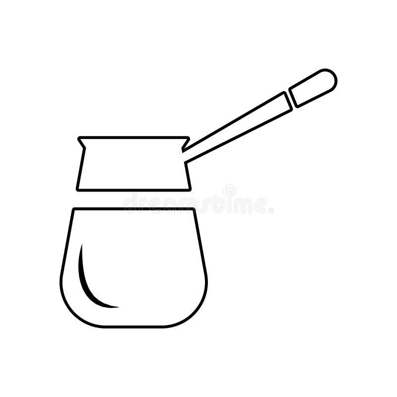 Rocznika jezva dla kawowej ikony Element ?asowanie dla mobilnego poj?cia i sieci apps ikony Kontur, cienka kreskowa ikona dla str ilustracji