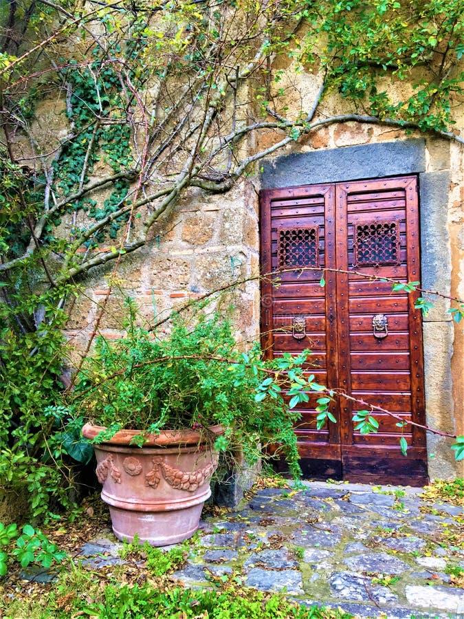 Rocznika kąt, drzwi, rośliny, gałąź i bajka w Civita Di Bagnoregio i, miasteczko w prowincji Viterbo, Włochy obraz royalty free