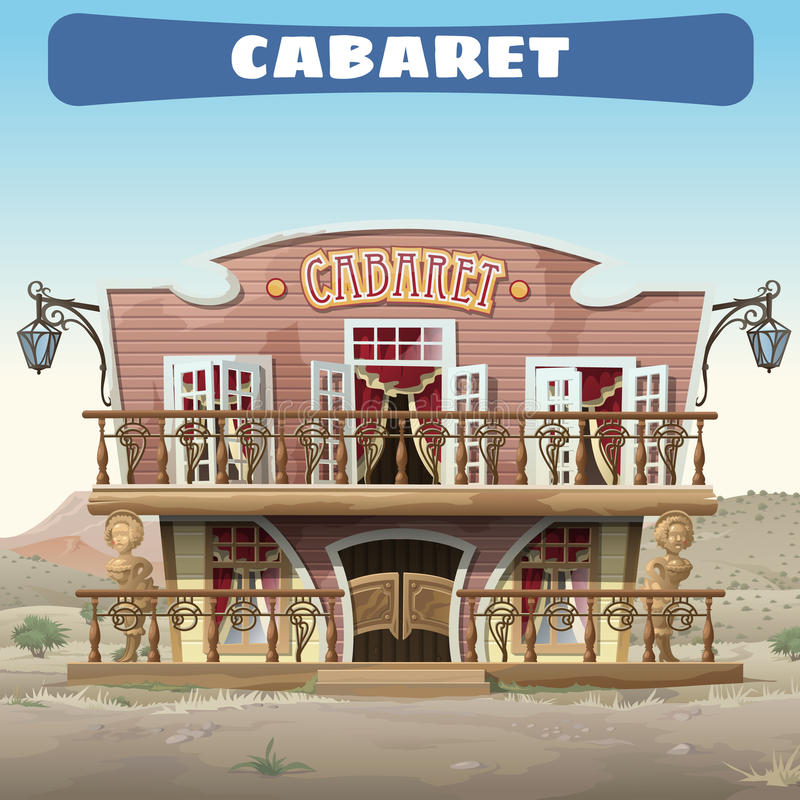 Rocznika kabaret w Dzikim zachodzie w miasteczku royalty ilustracja