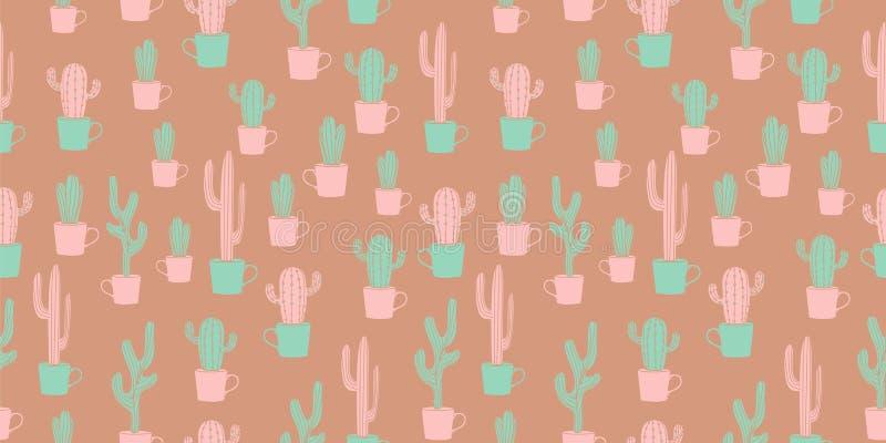 Rocznika kaktusowego projekta bezszwowy wzór z śliczną scandinavian ręką rysującą royalty ilustracja