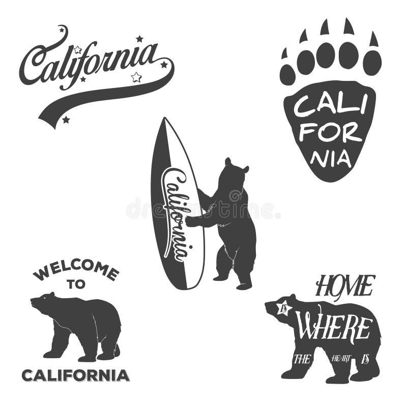 Rocznika Kalifornia monochromatyczne odznaki i projekt royalty ilustracja