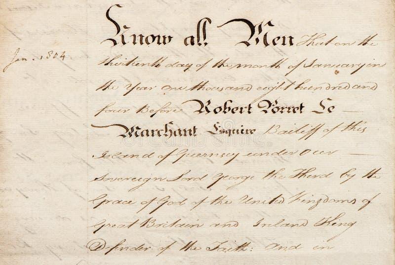 Rocznika kaligraficzny handwriting Używać papierowy tło fotografia royalty free