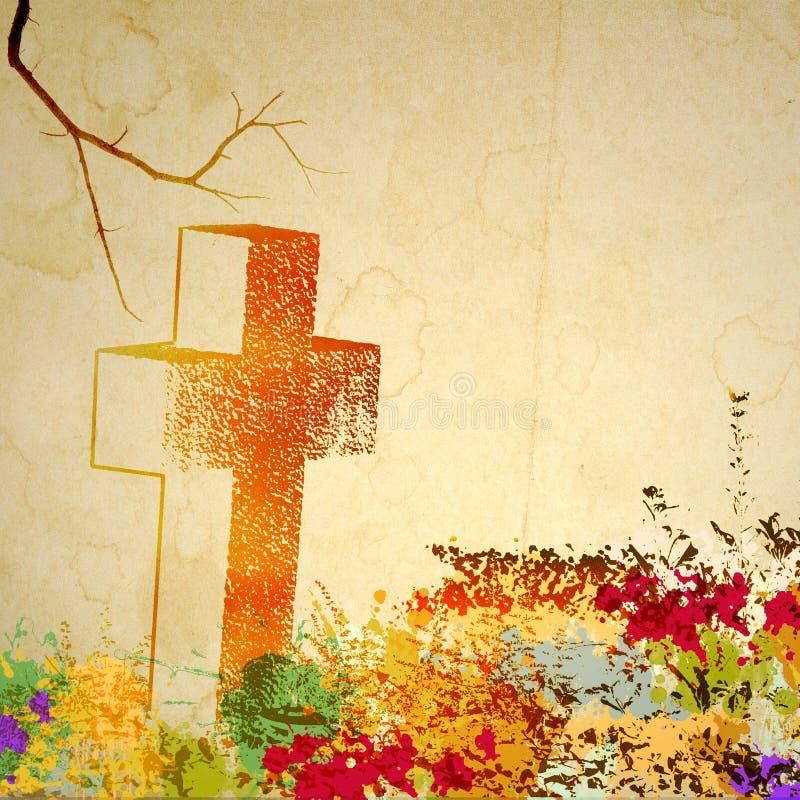 Rocznika kamienia krzyż bez nazwy na starym pobrudzonym papierze Z kopii przestrzenią royalty ilustracja