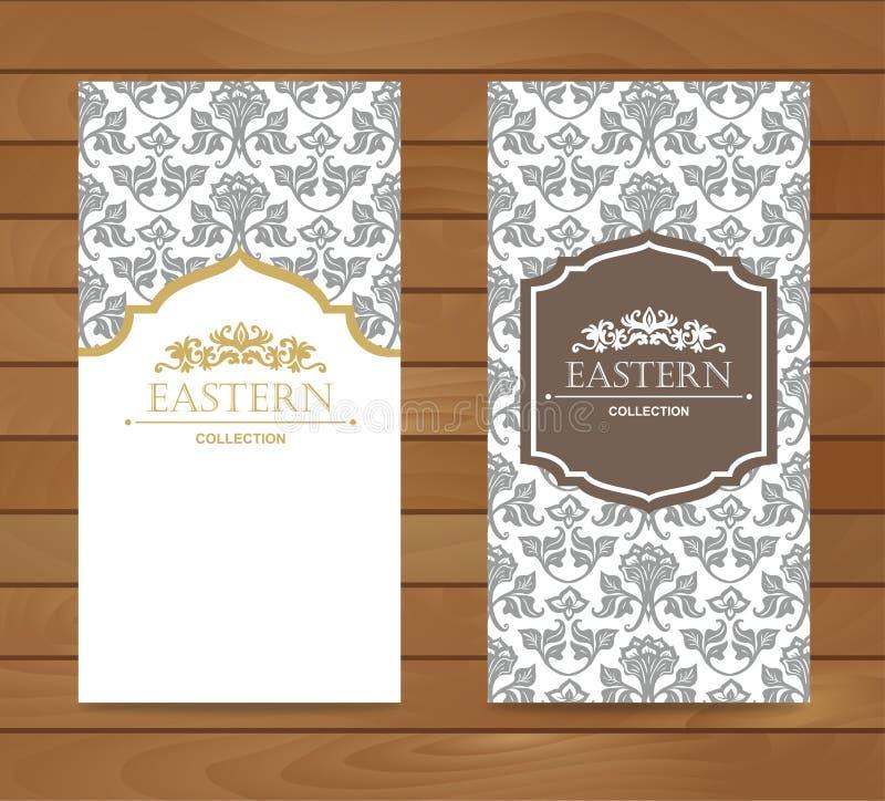 Rocznika karciany projekt dla kartka z pozdrowieniami, zaproszenie, sztandar Set Retro wschodni tło ilustracja wektor