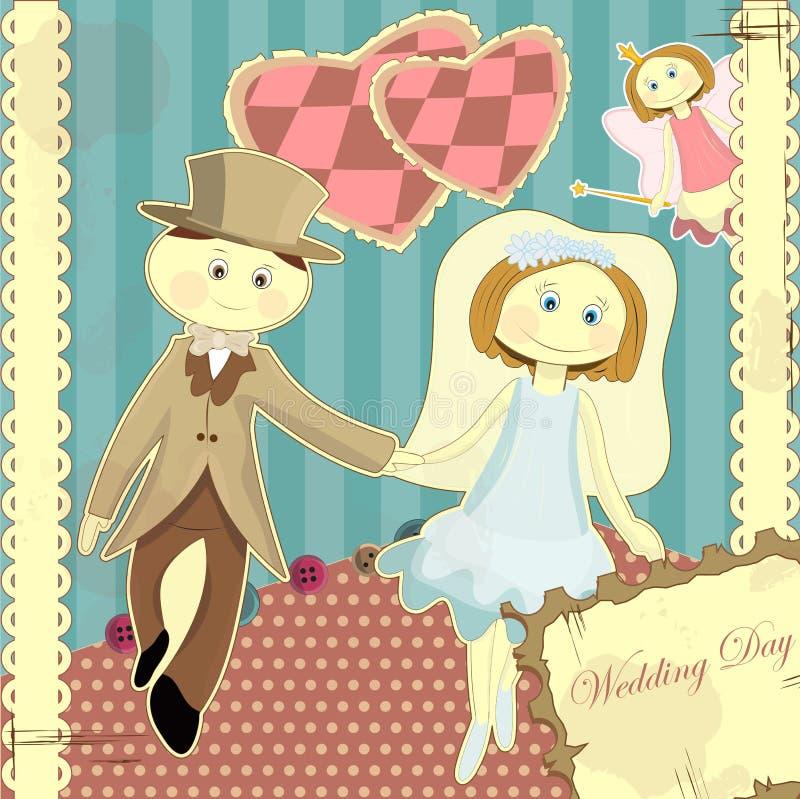rocznika karciany stylowy ślub ilustracji