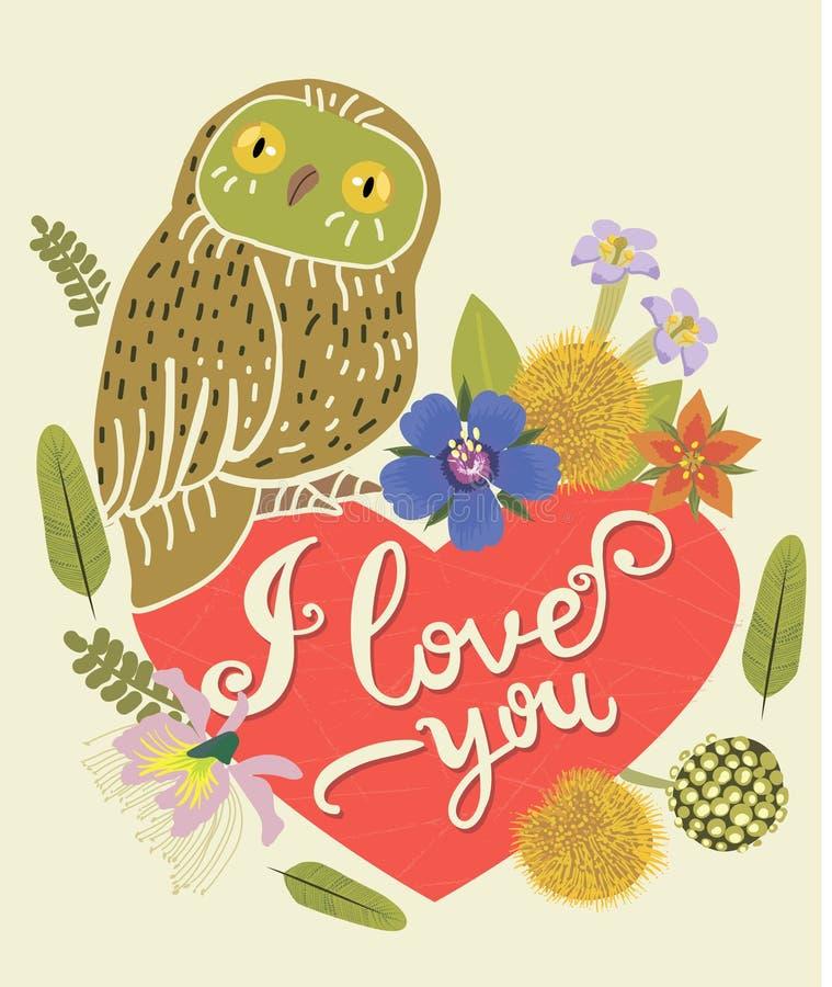 Rocznika kartka z pozdrowieniami Z Śliczną sową Kierowy I Kwiecisty wianek Piękny tło Może używać jako kartka z pozdrowieniami ilustracja wektor