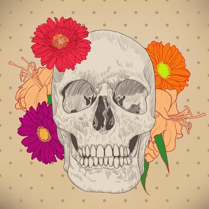Rocznika kartka z pozdrowieniami z czaszką dalej i kwiatami royalty ilustracja