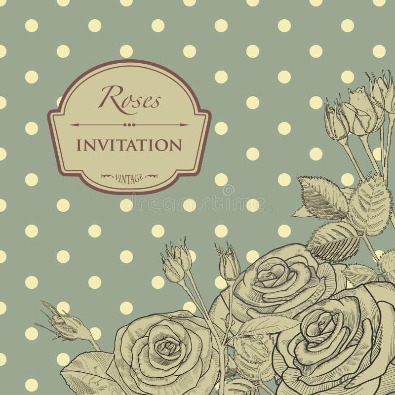 Rocznika kartka z pozdrowieniami z ręki rysować różami i ilustracji