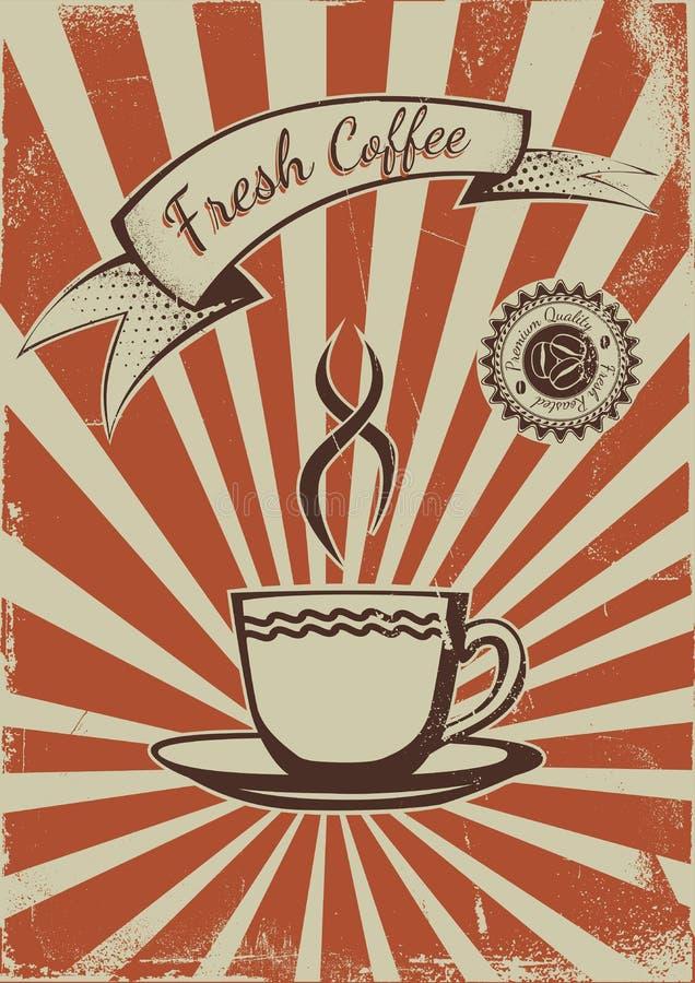 Rocznika kawowy plakatowy szablon royalty ilustracja