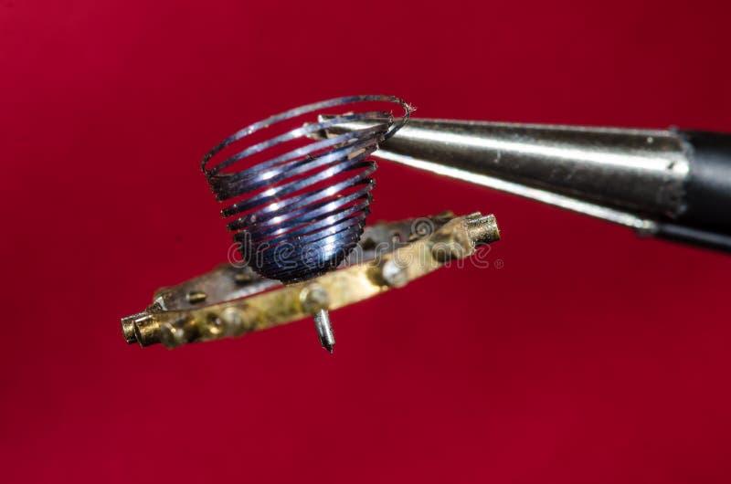 Rocznika Kieszeniowego zegarka Hairspring Trzyma pincety zdjęcie royalty free