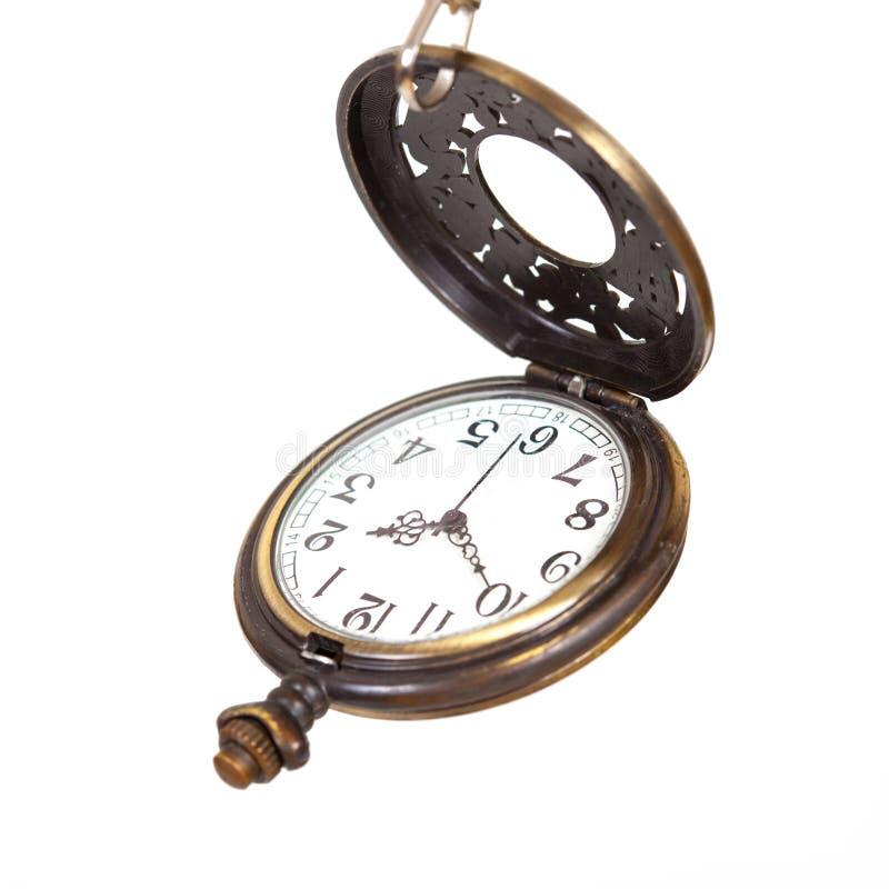 Rocznika kieszeniowy zegarek na bielu obrazy royalty free